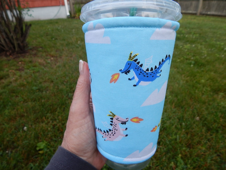Fire Breathing Dragons Iced Coffee Cozy image 0