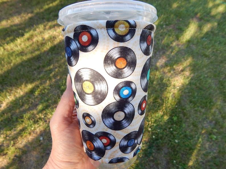 Vinyl Tunes Iced Coffee Cozy image 0