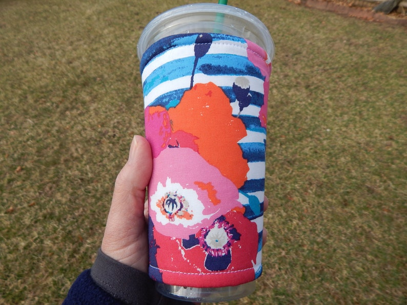 Striped Floral Iced Coffee Cozy image 0