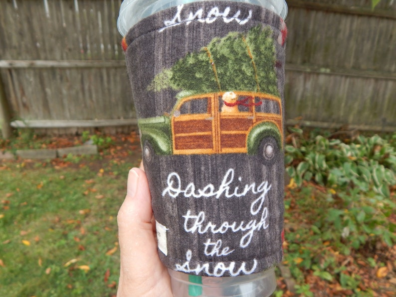 Flannel Trees On Cars Iced Coffee Cozy image 0