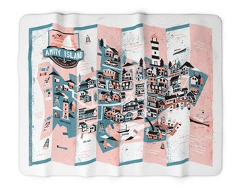 Amity Island Illustrated Map - Sherpa Fleece Blanket - Robert John Paterson
