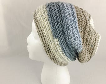 Shiplap Slouchy Beanie // Crochet Hat // Nested Blues // Casual