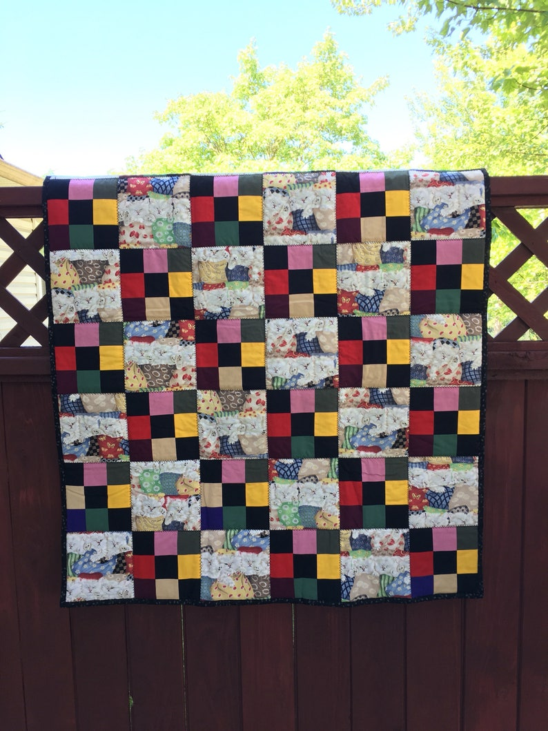 Sleeping Kittens Throw Quilt One Of A Kind Lap Quilt Kittens