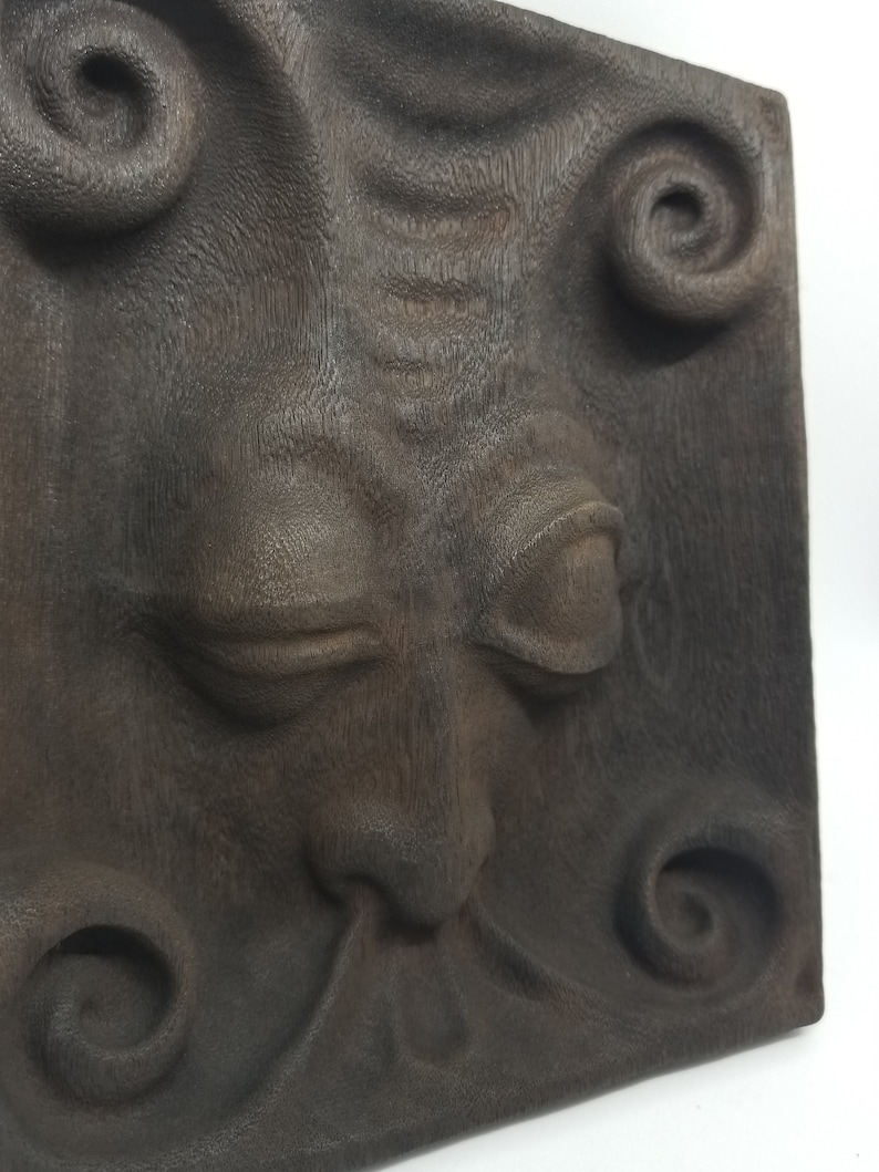 Jester  Hand-carved DMT Entity in reclaimed mahogany