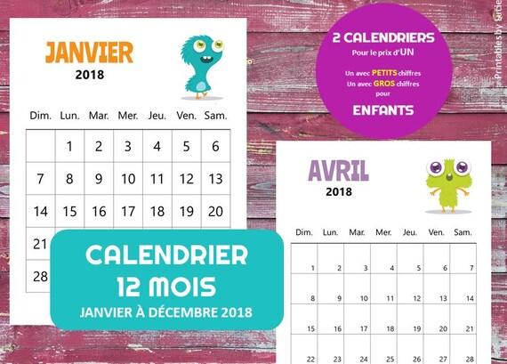 Calendrier Digital.Calendrier Digital 12 Mois 2018 Pour Enfants A Imprimer Petits Monstres Comiques