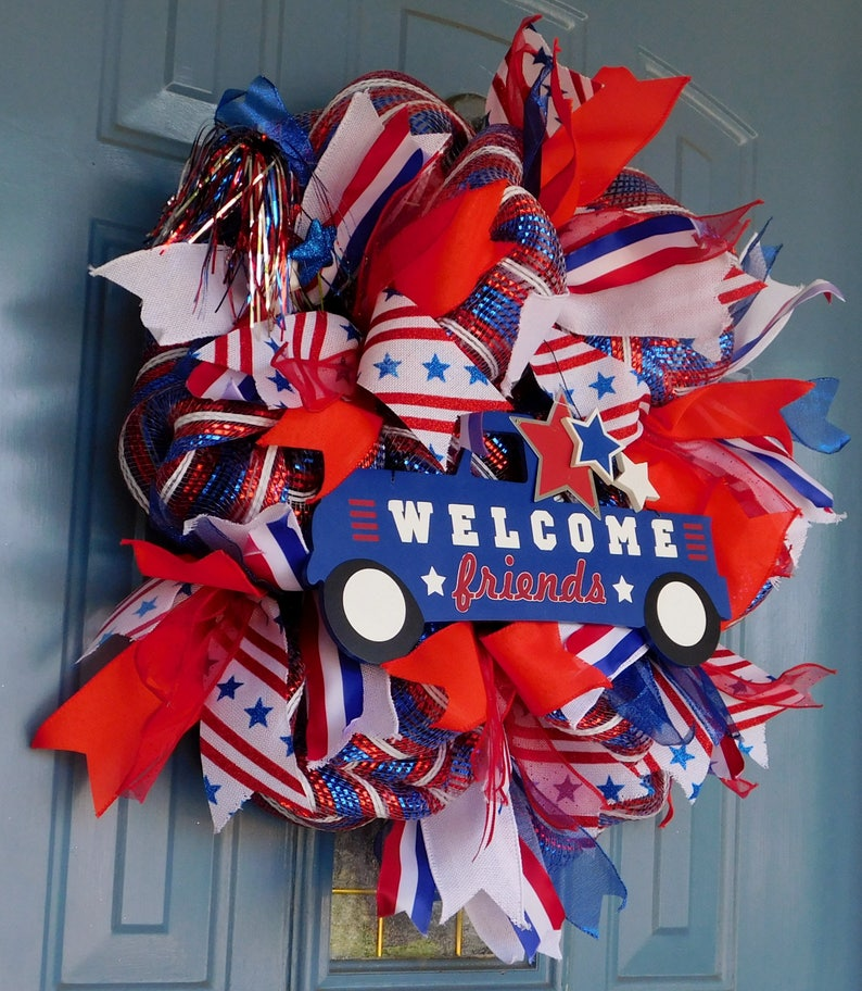 Front Door Wreath and Blue Deco Mesh Wreath American Wreath White Patriotic Wreath Patriotic Truck with WELCOME friends Red