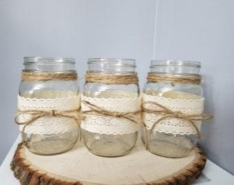 3pc Set Rustic Mason jar weddin centerpieces