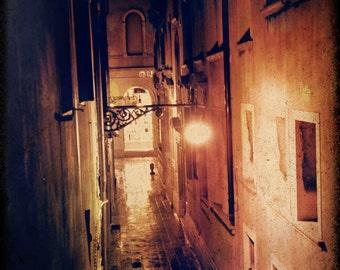 Venice Phototography, Italy,Venezia,B&W , Canal, Italy, rustic, Architectural, Romance,Europe,night scene,wall Art,Wall Decor