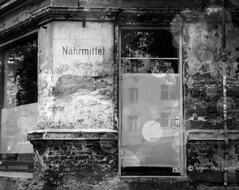 Berlin Photography,German Photography,Black&White,Old East Berlin,German Art,Wall Decor,Wall Art,old German sign,Architectural Art Hystoric