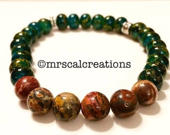 Mens two colored beaded bracelet!