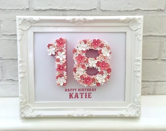 18th Birthday Idea Gift For Happy Floral Table Numbers Number Frame Special