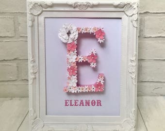 White and pink floral letter, New baby girl gift, Christening gift, First birthday present, Baby shower gift, Newborn gift, Baby girl gift,