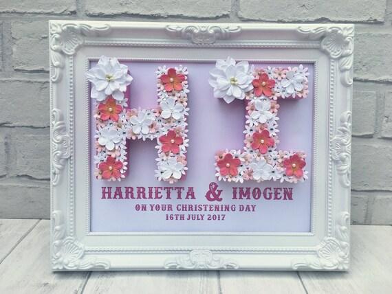 Taufe Geschenk Für Zwillinge Taufe Geschenk Für Schwestern Taufe Geschenk Für Geschwister Weiß Und Rosa Blumendekor Blume Kinderzimmer Dekor