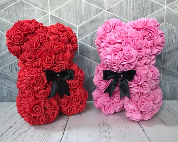 22cm ROSE BEAR FLOWER TEDDY Bear GIFT ARTIFICIAL ROSE BIRTHDAY Anniversary Gift
