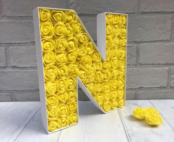 Décor rose jaune, décor de la chambre jaune, soleil jaune décor, décor de  fête Sweet 16, cadeau de meilleur ami, cadeau de l'amitié, grande lettre N