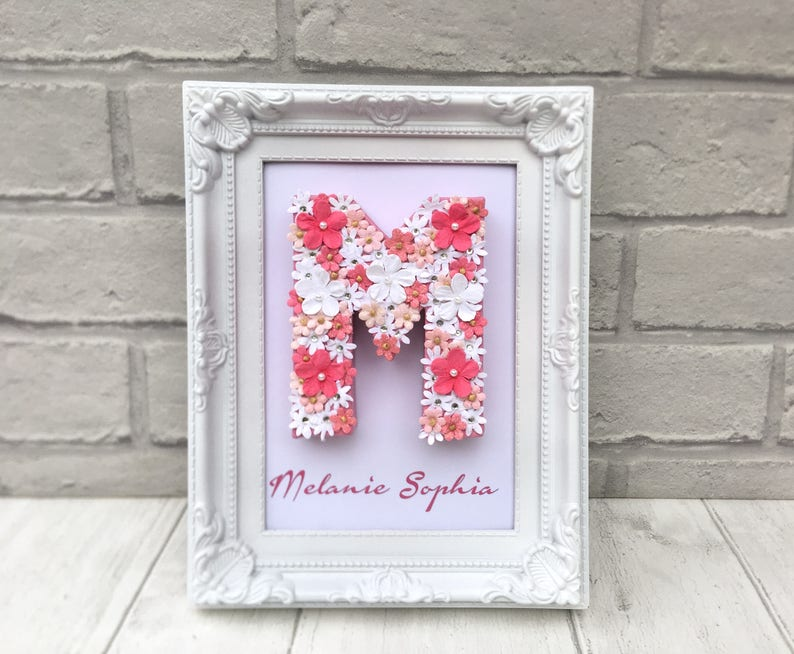 First Birthday Present Christening Gift White Pink Floral