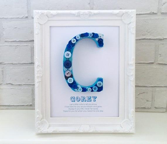 Blue Nursery Decor Button Name Frame Boys First