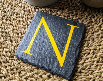 Hand-painted letter 'N' slate coaster
