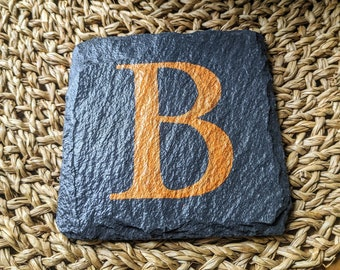 Hand-painted letter 'B' slate coaster