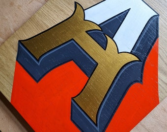 Hand-painted wooden 'A'