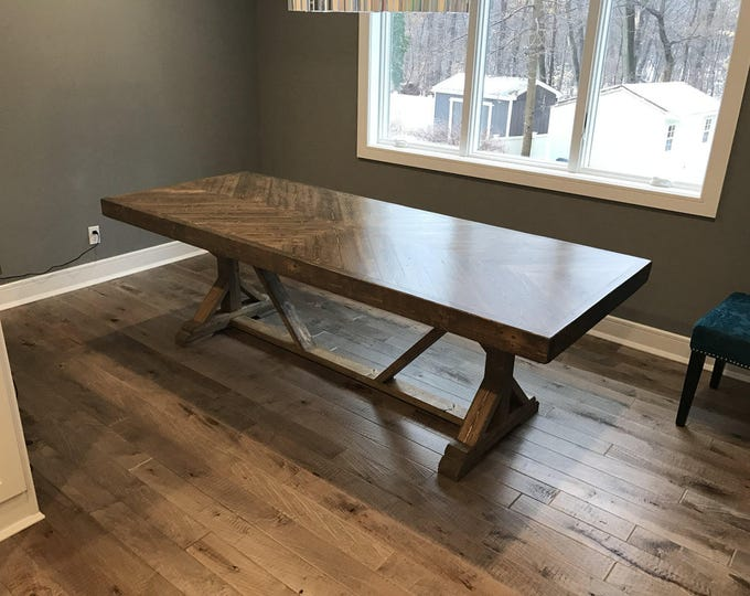 Farmhouse table, rustic table, kitchen table, chevron table