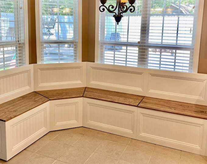 Banquette Bench for a Bay Window with straight backrest, kitchen seating, shaped bench, breakfast nook