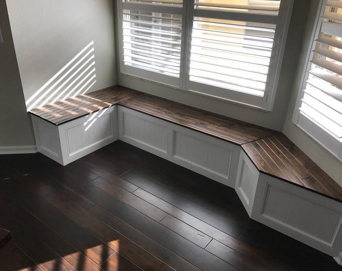 Corner bench, kitchen seating, L shaped bench, breakfast nook