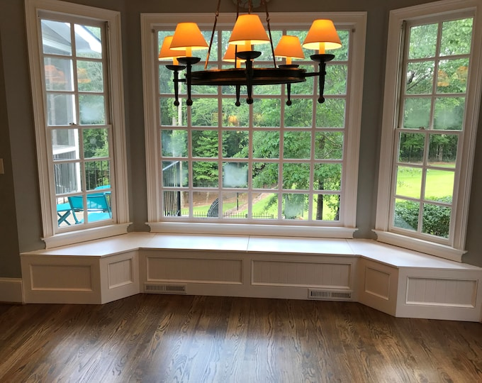 Banquette Bench for a Bay Window, kitchen seating, shaped bench, breakfast nook