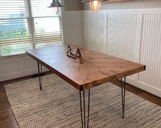 Farmhouse table, rustic table, kitchen table, chevron table, hairpin legs