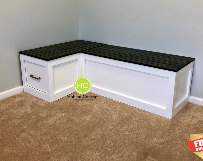 Banquette Corner bench, kitchen seating, L shaped bench, breakfast nook FREE SHIPPING...!!!