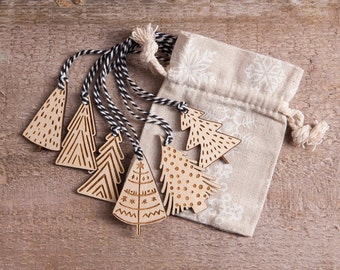 Mini Wooden Christmas Tree Decorations