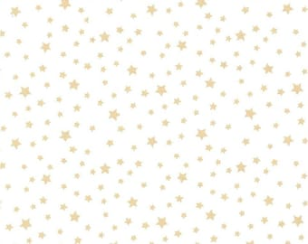 Red and Gold Stars on Ivory Glitter Christmas 100/% Cotton Print Fabric