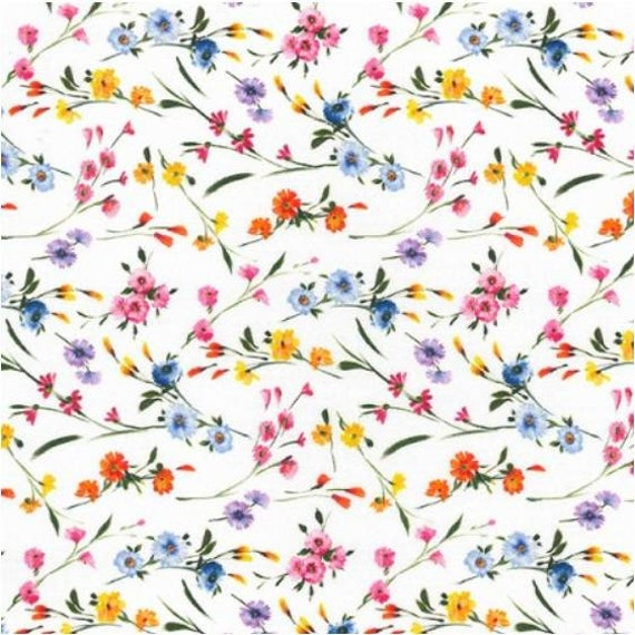 100/% Cotton Fabric By Inprint Blank Rose Flower Heads Floral