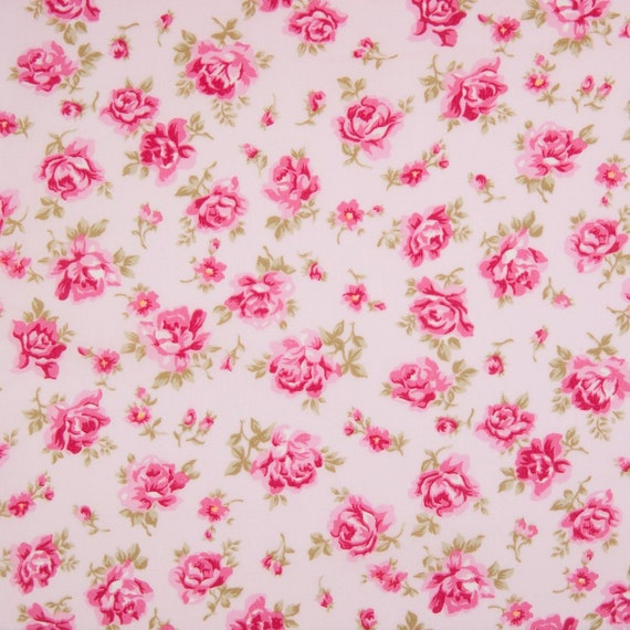 per 1//2 metre//FQ GREEN vintage floral dressmaking//craft fabric 100/% COTTON