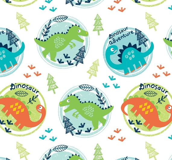 Cotton Have You Seen My Dinosaur Kids Cotton Fabric Print by the Yard D477.11