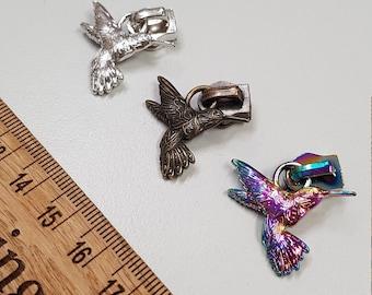 Zipper Pull Hummingbird nylon bag making hardware Size 5 zip, Silver, Rainbow, Bronz