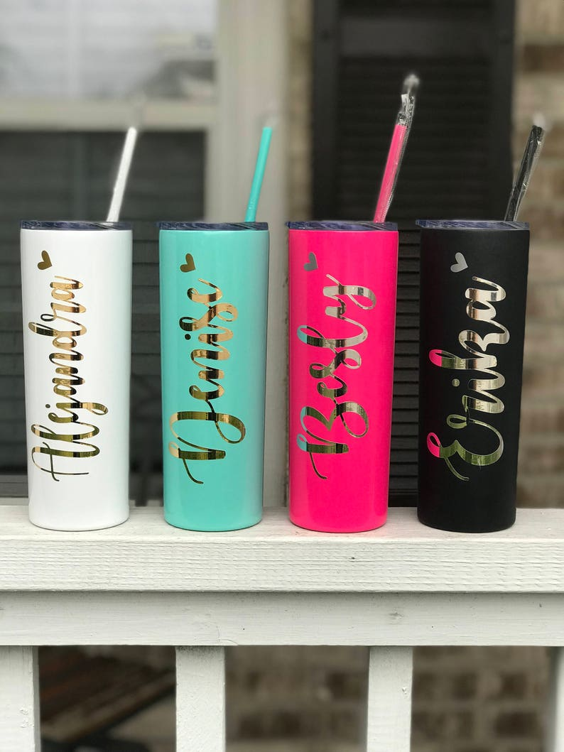 Personalized Tumbler Stainless Skinny Tumbler Personalized Cups Bridesmaid Gifts Bridesmaid Tumbler Wedding Favors Bridesmaid Proposal