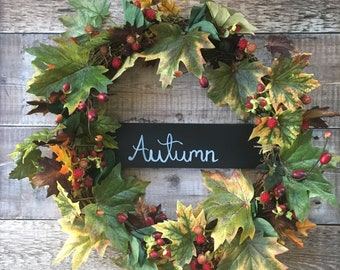 Autumn Front Door Wreath   Silk Leaves And Berries   Autumnal Decor   Fall  Wreath   Autumn Home Decoration   Outdoor Wreath