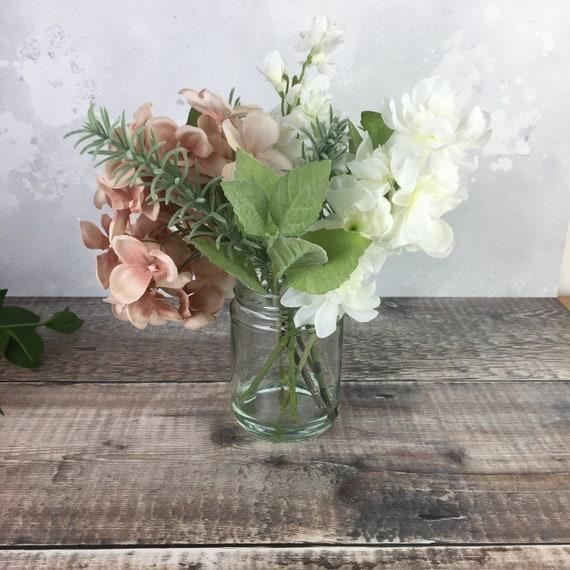 & Spring Flower Decor Gift White and Pink Silk Flowers in Vase   Etsy