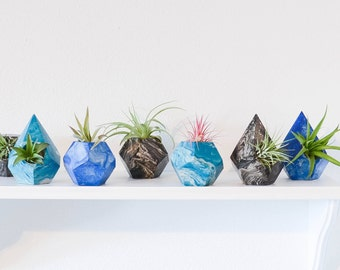Marble Geometric Concrete Air Plant Holders -  Marble Decor - Air Planters - Wedding Favors, Low Shipping