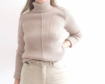 166683844c Beige thick and luxurious vintage cotton turtleneck lands  end sweater