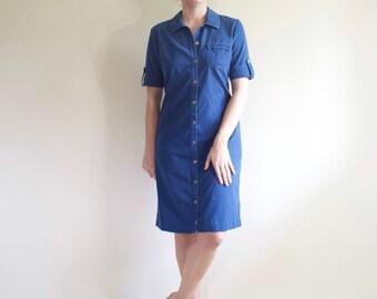 326606cd63 Blue Talbots dark wash 100% denim cotton button down simple tee shirt dress  size medium 8