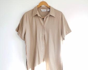 2b2f0251fb0145 Beige tan 100% silk teeshirt button down size large XL oversized