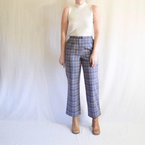 "28"" blue plaid wool pendleton pants"
