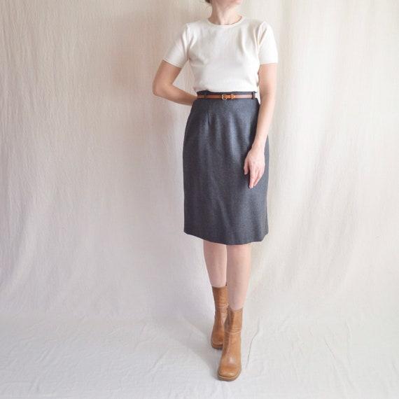 "30-32"" charcoal gray knee length wool tulip skirt"