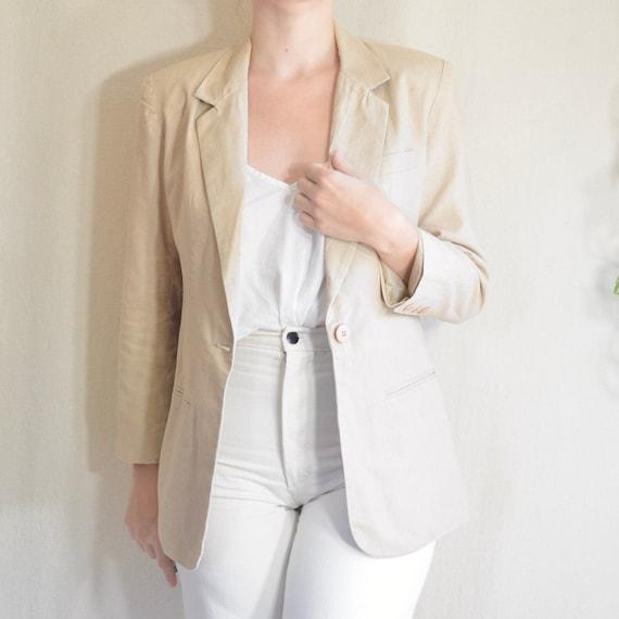 long line beige linen blend single pocket blazer