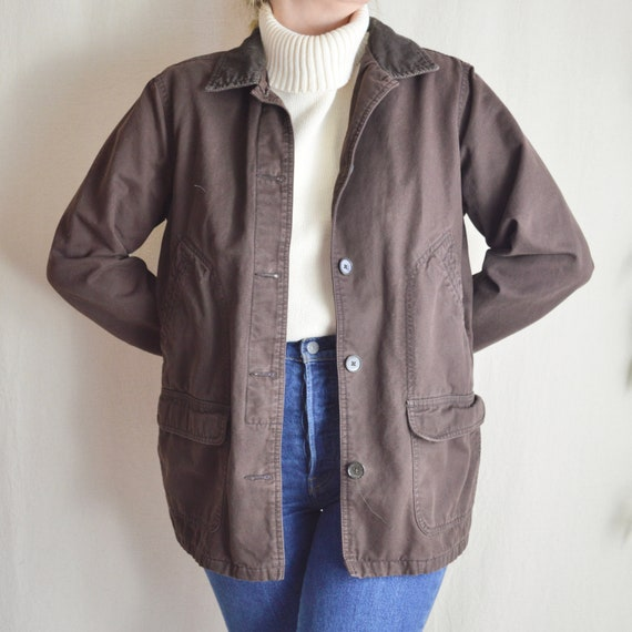 flannel lined brown cotton chore coat