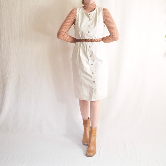 khaki button down jumper dress with pockets
