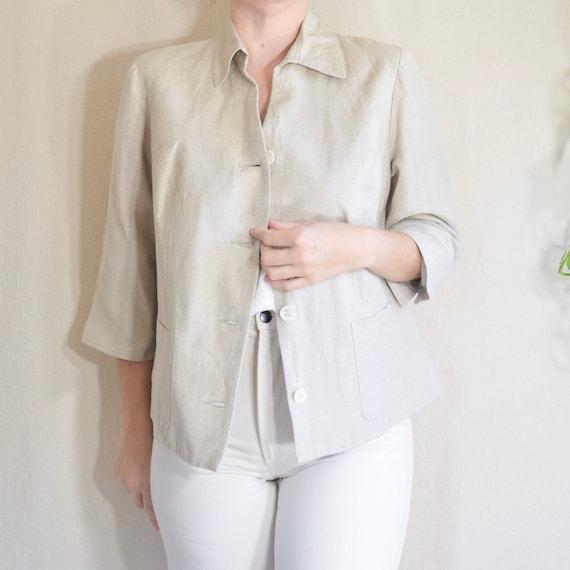 cropped boxy cut beige linen blend fully lined bla