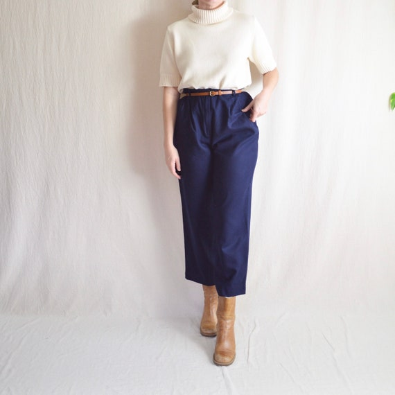 "29-31"" vintage navy blue pendleton wool pants"